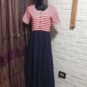 Vintage 80's Misty Lane Strip Sailor Maxi dress